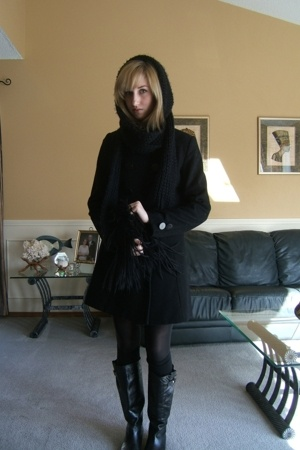 joe fresh style coat - Jacob scarf - f21 dress - American Apparel tights - Aldo