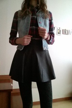 denim H&M vest - flannel Forever 21 shirt - faux leather skirt