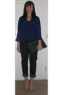 Navy-paige-denim-jeans-blue-vintage-blazer-green-tjmaxx-bag
