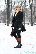 black Zara jacket - brick red Ralph Lauren boots - white G-Star shirt
