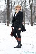 black Zara jacket - brick red Ralph Lauren boots - white G-Star shirt