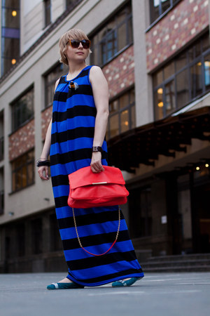 blue asos dress - carrot orange Zara bag - black Uterque sunglasses - turquoise 