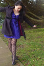 Deep-purple-dress-hot-pink-black-new-look-jacket