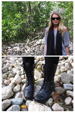 black Charlotte Russe boots - black Forever 21 leggings - black Converse scarf