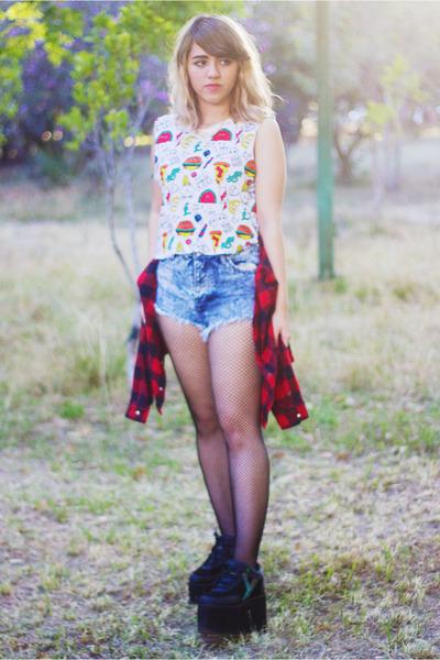 white Forever 21 blouse - red Zara shirt - blue acid wash Shasa shorts