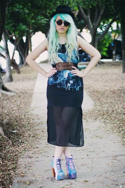 black Zara dress - purple cosmic lita Jeffrey Campbell boots