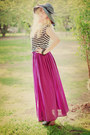 Bow-zara-hat-maxi-skirt-zara-skirt-striped-crop-random-brand-top