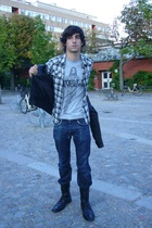 Marc by Marc Jacobs t-shirt - H&M shirt - vintage jacket - Zara accessories