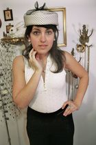 white vintage hat - white vintage blouse - black Navy Sailor Pants pants