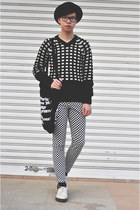 checkered Wego jeans - DrMartens shoes - wool H&M hat - American Apparel bag