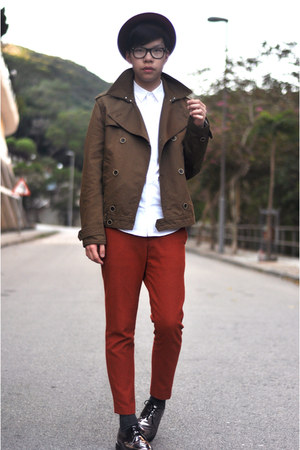 brick red wool H&amp;M hat - beige metallic DrMartens shoes - brown H&amp;M jacket