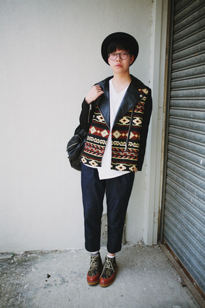 black Zara jacket - navy Factotum jeans - black H&M hat