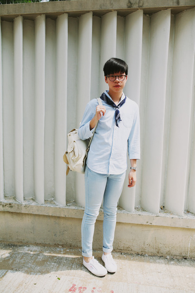 light blue H&M jeans - white Superga sneakers