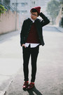 Black-h-m-jeans-brick-red-asos-hat-dark-gray-zara-jacket