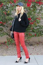 red skinny leather Urban Outfitters pants - black Acrobat sweater
