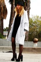 gray vintage cardigan - black Forever 21 dress - black Forever 21 shoes