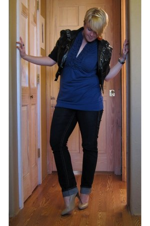 jeggings Maurices jeans - cropped leather Body Central jacket - ruffled blue Mau