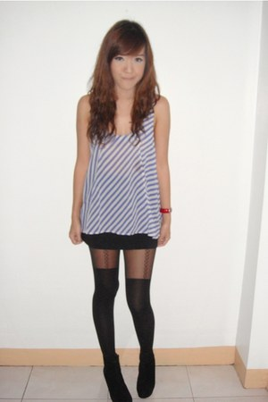 blue Topshop top - black Details skirt - black Topshop tights - black boots - ru
