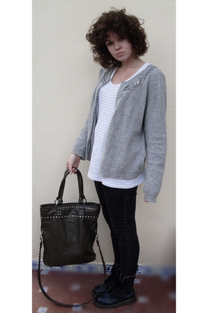 gray thrifted cardigan - silver