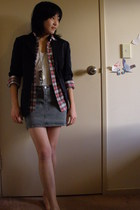 tailored blazer - shirt - Topshop top - Hang Ten skirt - diva necklace