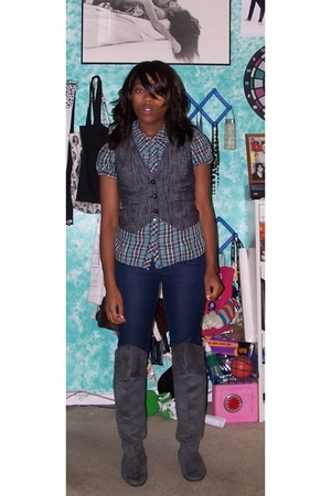vest - top - forever 21 jeans - boots