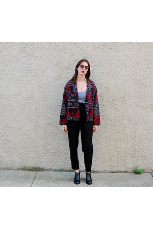 black vintage boots - red vintage jacket