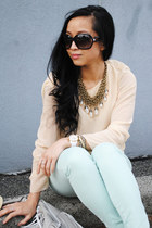 christian dior sunglasses - suede Aldo shoes - H&M bag - Zara top - Zara pants