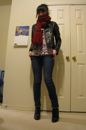 scarf - forever 21 jacket - Delias shirt - jeans - payless boots