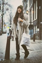 ivory self-made bag - silver fur Zara coat - black weekday jeans