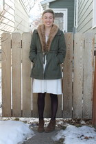 ivory dress - army green jacket - deep purple tights - brown wedges