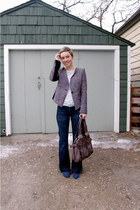 pink blazer - navy jeans - white shirt - heather gray bag - blue heels