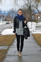 blue scarf - black jacket - heather gray sweater - light blue blouse