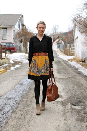black blouse - heather gray boots - brown bag - mustard skirt