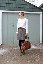 brown bag - white sweater - black tights - olive green skirt