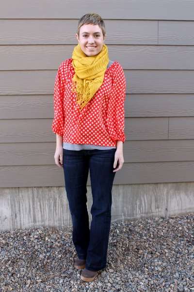 red tango dots Forever21 blouse - heather gray gray antelope boots