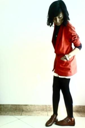 halter neck blouse - moms blazer - Atmosphere skirt - in her shoes boots - unbra