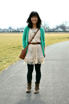 aquamarine Old Navy cardigan - eggshell vintage dress - brown thrifted bag