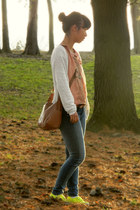 coral LC Lauren Conrad top - brown thrifted bag - white Forever 21 cardigan