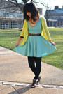 Dark-brown-moms-boots-aquamarine-forever-21-dress