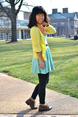 aquamarine Forever 21 dress - dark brown moms boots