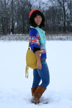 gold Lulus bag - brown Target boots - carrot orange no brand hat