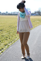 eggshell Rire top - aquamarine China scarf - light pink thrifted H&M cardigan