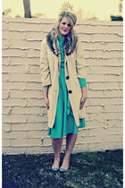aquamarine thrifted vintage dress - tan vintage jacket - silver Target flats