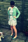 Turquoise-blue-tweed-zara-blazer-sky-blue-car-print-primark-dress
