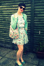 Sky-blue-car-print-primark-dress-turquoise-blue-tweed-zara-blazer