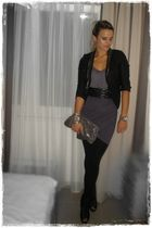 gray asos dress - black River Island jacket - gray H&M bag - black asos shoes