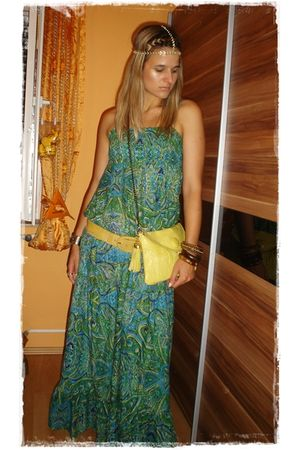 yellow asos accessories - gold asos accessories - green Terranova dress