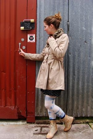 brown Dotti coat - black Valleygirl dress - blue Sportsgirl tights - brown Rubu