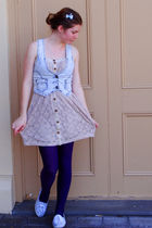 blue Valley Girl vest - beige Valley Girl dress - purple Myers tights - blue Spo