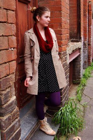 brown Dotti coat - black Valley Girl dress - purple Myer tights - beige Rubi sho